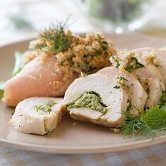 Pesto Chicken Directions Blend pesto sauce mix with olive oil. Brush on both sides of chicken. Grill or broil until chicken is thoroughly cooked. Serve with green beans and couscous. Chicken Breast Recipes Healthy, Healthy Chicken Recipes, Cooking Recipes, Healthy Meals, 5 Ingredient Chicken Recipe, Feta Chicken, Stuffed Chicken, Cheesy Chicken, Spinach And Feta