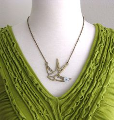 Golden Sparrow Necklace by lillyella on Etsy, $24.00