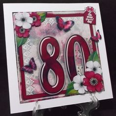 Vintage Birthday 80th Card Topper Kit 1186 by Suzi Cooper