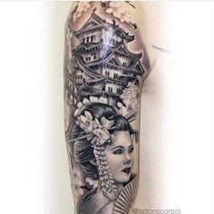 kwontbirded - 0 results for tattoos Japanese Temple Tattoo, Japanese Tattoo Art, Japanese Tattoo Designs, Japanese Sleeve Tattoos, Tattoos 3d, Girl Tattoos, Geisha Tattoo Sleeve, Geisha Tattoo Design, Alien Tattoo