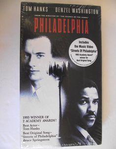 "VHS Philadelphia 1994 New Factory Sealed NTSC pg-13 90s Tom Hanks Denzel Washington AIDS Includes Music Video ""Streets of Philadelphia"" #gf by AdriennesAtticStore on Etsy"