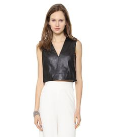 Ashtyn Cropped Leather Top