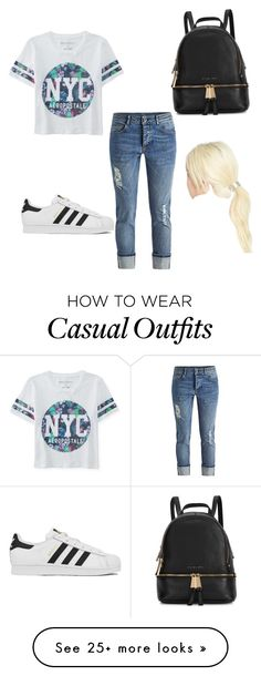 Casual Day by cleanswiftie on Polyvore featuring Aéropostale, adidas, Michael Kors, L. Erickson, womens clothing, women, female, woman, misses and juniors