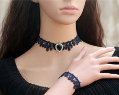 Black Flower Lace Choker Necklace Gothic Choker by FairybyFoxie