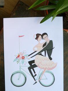 """Custom Wedding Portrait 8""""x10"""" - Modern, Mint Bike, Vintage inspired. £120.00, via Etsy."""