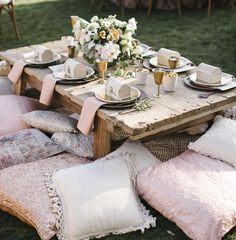 """""Even the littlest guests dined in style at this wedding! We piled on the pretty-- and pillows--to create a kids table that may have been tiny in scale,…"""
