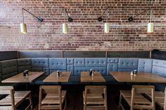 Booth Seating Restaurant Brick Walls 28 New Ideas Restaurant Booth Seating, Cafe Restaurant, Restaurant Design, Restaurant Interiors, Banquette Seating, Lounge Seating, Lounge Chairs, Room Chairs, Dining Chairs