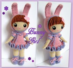 My first amigurumi that I realized all by myself. A little girl in a bunnysuit/ bunnydress! ^.^