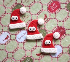 Cute Whimsical Santa Hat Edible Fondant Cupcake Cake Toppers by Les Pop Sweets on Gourmly