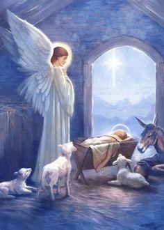 Christmas Nativity Scene, Christmas Scenes, Christmas Angels, Christmas Art, O Holy Night, Angels Among Us, Jesus Pictures, Guardian Angels, Angel Art