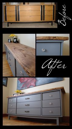 Dresser before & after. Distressed wood top + grey paint + glass and antique handles.