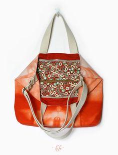 http://ino-oshi.livejournal.com/  #handmade #textile #bag #orange #bright #eco
