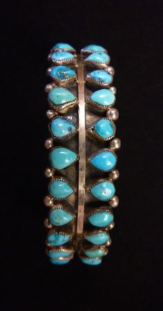 Old Pawn Vintage Sterling Silver and Turquoise Cuff