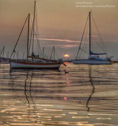 Sunset over Brancaster Staithe harbour