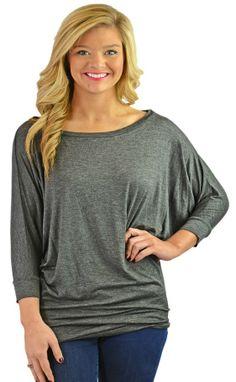 Three-quarter sleeve batwing top- dark heather grey