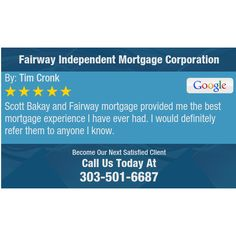 Scott Bakay and Fairway mortgage provided me the best mortgage experience I have ever had....