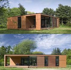 These modern prefabricated homes offer simple Scandinavian style with emphasis on functionality, light and high quality materials. Designed by ONV arkitekter for this series of architect-designed houses feature a minimalist box-like form with clean lin Casas Containers, Prefabricated Houses, Exterior Cladding, Modular Homes, House In The Woods, Modern House Design, Architecture Design, Villa, House Styles