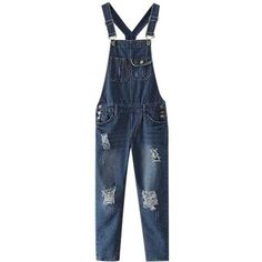 Chicnova Fashion Ripped Splicing Overall (155 VEF) ❤ liked on Polyvore featuring jumpsuits, blue jumpsuit, blue denim overalls, denim bib overalls, blue overalls and overall