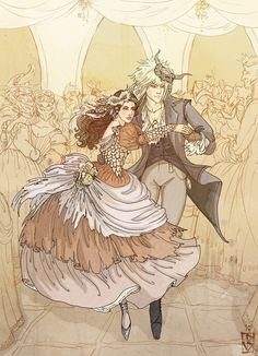 Jareth and Sarah from 'Labyrinth'. Art by Janey-jane.