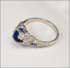 antique sparkle | Antique Art Deco Ring Platinum Diamond Engagement Ring Sapphire ...