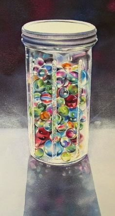 """""""THE COLLECTION watercolor still life marble painting"""" original fine art by Barbara Fox"""