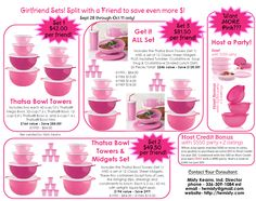 PINK Tupperware Specials thru Oct 11 only! Contact me at twmisty@gmail.com to order - a % of your purchase through me will be donated to the American Cancer Society. View more specials at http://mytupperware.com/mistydk #Tupperware #pink
