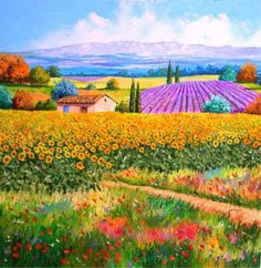 Cottage and sunflowers - Jean-Marc JANIACZYK, painting