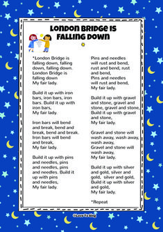 London Bridge Is Falling Down Song! Children will love to sing and dance along with this Popular Kids Nursery Rhyme Song! Nursery Songs Lyrics, Kids Nursery Rhymes Songs, Lullaby Songs, Rhymes For Kids, Kids Song Lyrics, Children Rhymes, Kindergarten Songs, Preschool Songs, Songs For Toddlers