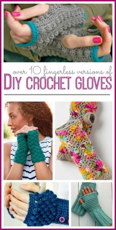 DIY Fingerless Crochet Gloves here's an awesome roundup of tons of diy fingerless glove crochet patterns, free list – – (wouldn't these make great gifts for all those awesome women in your life? Fab collection of DIY Fingerless Crochet Gloves, collect Poncho Crochet, Fingerless Gloves Crochet Pattern, Crochet Diy, Crochet Scarves, Crochet Crafts, Crochet Clothes, Crochet Stitches, Crochet Projects, Fingerless Mitts
