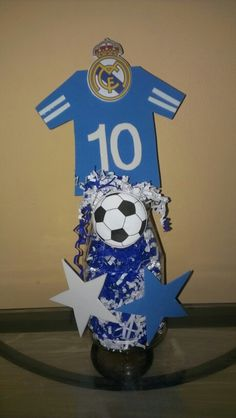 Real Madrid or soccer centerpiece using foam sheets