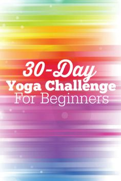 Rainbow design with '30 Day Yoga Challenge for Beginners' written in white.