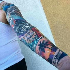 American sleeve america tourist polaroid tattoo inspiration
