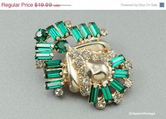 Art Deco Brooch Pin Crystal & Emerald Green by JessesVintage, $15.99