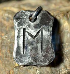 EHWAZ Rune acero forjado colgante talismán amuleto collar