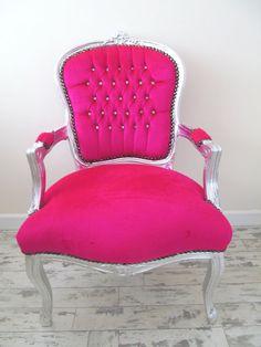 LYLA ROZE Fuchsia Pink Velvet Crystal Diamante French Shabby Chic Silver Louis Armchair Salon Bedroom Chair