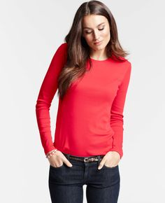 Ann Taylor - AT Petite Knits Tees - Petite Cotton Jewel Neck Long Sleeve Tee. $28