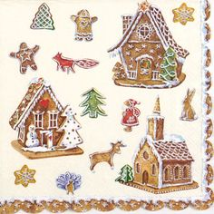 4x Single Lunch Party Paper Napkins for Decoupage Decopatch Craft Gingerbread…