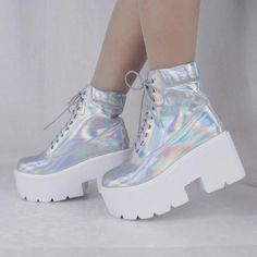 holographic iridescent hologram boots by Kokopiebrand on Etsy Kawaii Shoes, Kawaii Clothes, Girls Shoes, Baby Shoes, Sneakers Fashion, Fashion Shoes, Sneakers Nike, Holographic Fashion, Holographic Boots