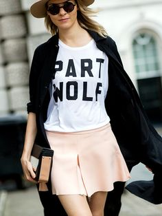 graphic tee + polished skirt // street style during fashion week