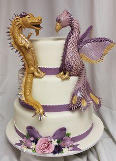 dragon pheonix wedding cake by Amanda Oakleaf Cakes, via Flickr