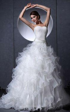Tiefe Taile Organza lockeres romantisches Brautkleid mit Applikation aus Kristall Organza