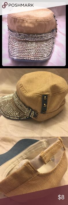 Bling & Tan with blue & brass spike studs capNWOT Fit most has adjustable Velcro strip in back . Accessories Hats