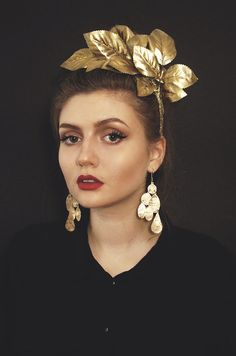 Gold leaf headband Gold leaf crown floral by Florencemercato