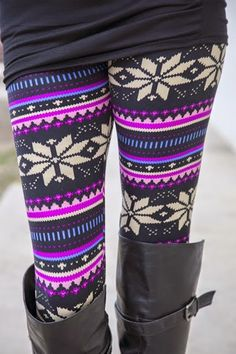Aztec Leggings With Black Long Leather Boots
