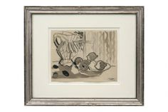 Watercolor and crayon still life by Raymond Debieve (1931 - 2011)  France, circa 1960