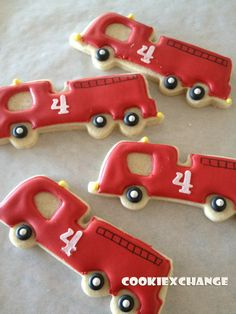Birthday Cookie Favors | Firetruck decorated cookie favor birthday party | Birthdays Repinnned By:#TheCookieCutterCompany