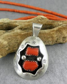 Signed Goodluck Old Pawn Navajo Coral Turquoise Pendant | eBay