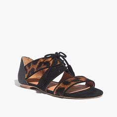 Madewell et Sézane® Ulysses Lace-Up Sandals in Leopard $168
