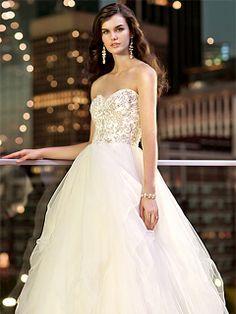 BallGown Sweetheart Tulle Satin Sweep Train White Beading Wedding Dresses at Msdressy