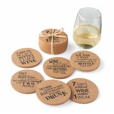 These Cork Wine Coasters keep rings off your table and feature fun, humorous wine sayings.